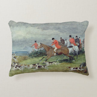 Fox Hunting in Surrey, 19th century Accent Pillow