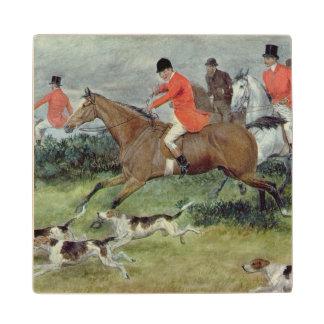 Fox Hunting in Surrey, 19th century Maple Wood Coaster