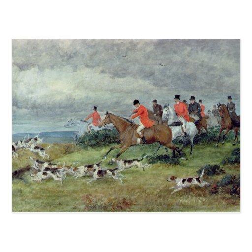 Fox Hunting in Surrey, 19th century Postcard