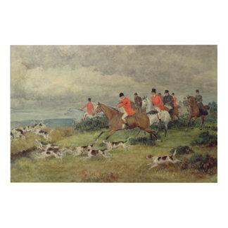 Fox Hunting in Surrey, 19th century Wood Print