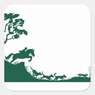 Fox Hunting Silhouette Square Sticker