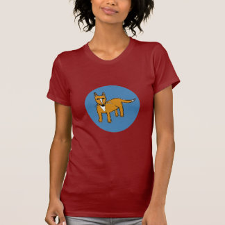 Fox Illustration in Blue Circle Women's Tee