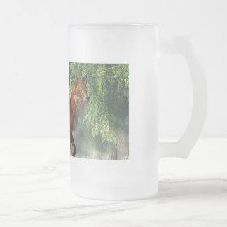 Fox in a Forest 16 Oz Frosted Glass Beer Mug