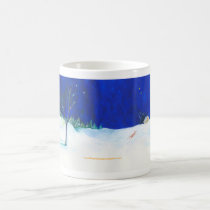 Fox in a snow field mug