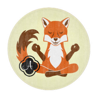 Fox in a yoga pose. cutting board