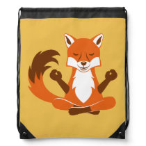 Fox in a yoga pose drawstring backpack