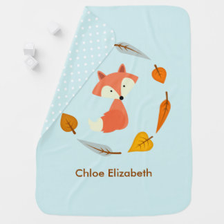 Fox in Autumn Leaves Wreath Stroller Blanket