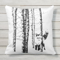 Fox in Birch Forest Modern Animal Art Throw Pillow