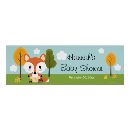 FOX IN DIAPERS BABY SHOWER BANNER POSTERS