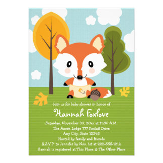 FOX IN DIAPERS BABY SHOWER PERSONALIZED INVITE