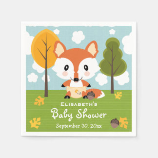 Fox in Diapers Baby Shower Paper Napkin