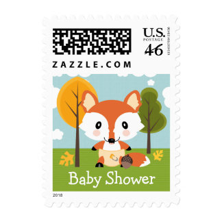 Fox in Diapers Baby Shower Stamp