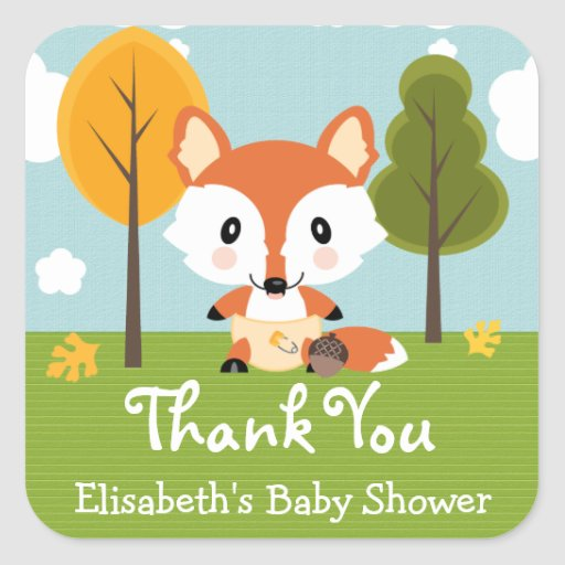 FOX IN DIAPERS BABY SHOWER THANK YOU STICKERS