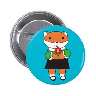 Fox in Dress Button