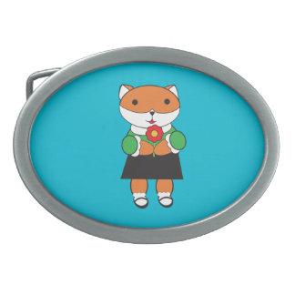 Fox in Dress Oval Belt Buckles