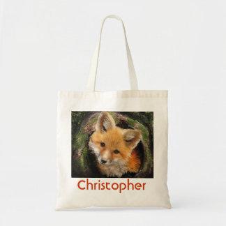 fox in log bag