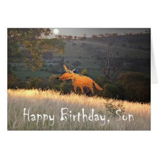 Fox in Moonlight, Happy Birthday Son, humor. Card