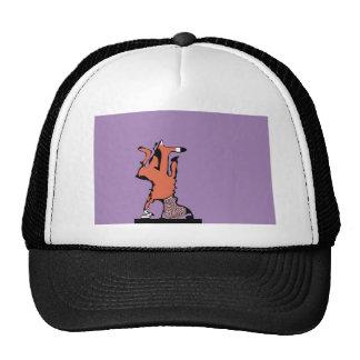 fox in purple trucker hats