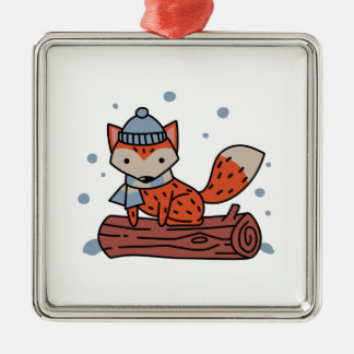 Fox In Snow Metal Ornament