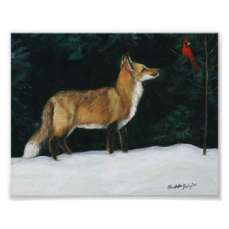 """Fox in Snow"" Wildlife Art Reproduction Poster"