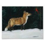 """Fox in Snow"" Wildlife Art Reproduction Posters"
