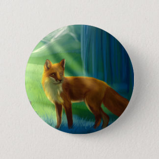 Fox in the forest pinback button