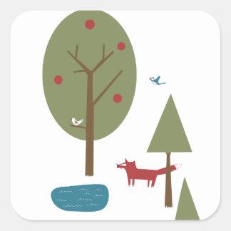 Fox in the Forest Square Sticker