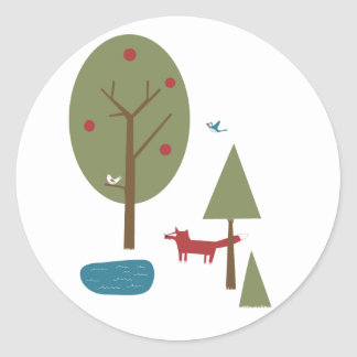Fox in the Forest Classic Round Sticker