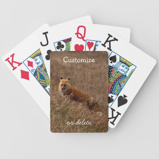 Fox in the Grass; Customizable Bicycle Playing Cards
