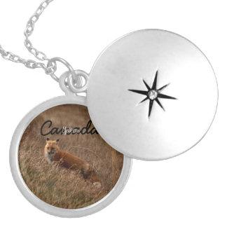 Fox in the Grass; Yukon Territory Souvenir Round Locket Necklace