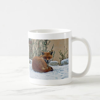 Fox in the snow classic white coffee mug