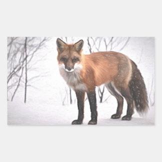 Fox in the Snow Rectangular Sticker
