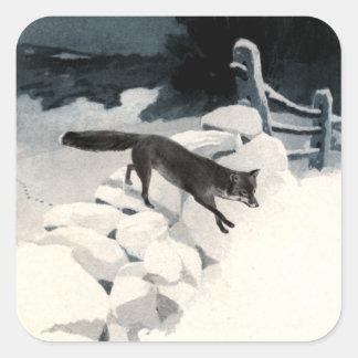 Fox in the Snow Square Sticker