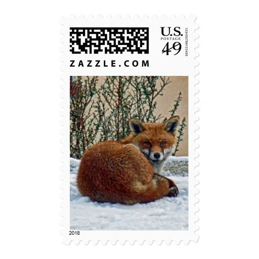 Fox in the snow stamps