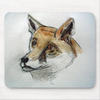 Fox in watercolor pencils mouse pad