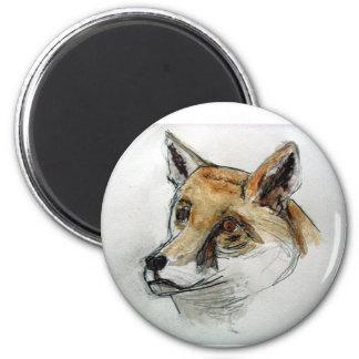 Fox in Watercolor Refrigerator Magnet