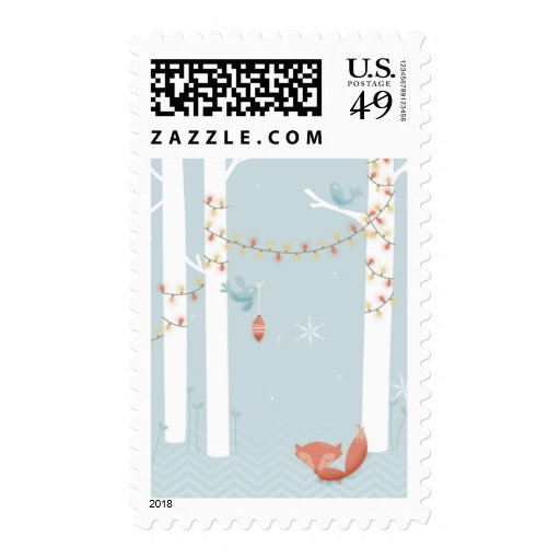 Fox in Winter, Birds with Christmas Lights Postage