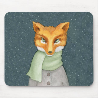 Fox in Winter Scarf Illustration Mouse Pad