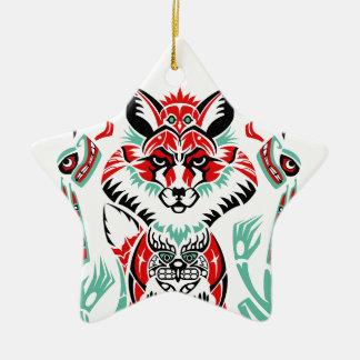 Fox indio del nativo americano costero del norte adorno navideño de cerámica en forma de estrella