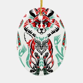 Fox indio del nativo americano costero del norte adorno navideño ovalado de cerámica