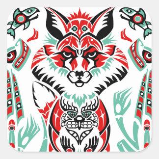 Fox indio del nativo americano costero del norte pegatina cuadrada