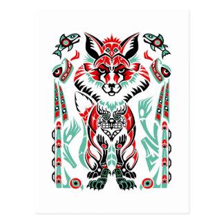 Fox indio del nativo americano costero del norte tarjetas postales