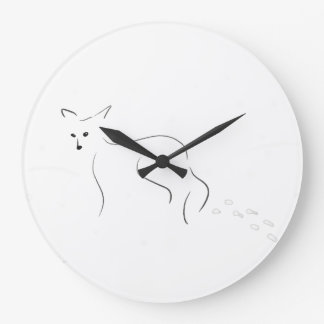 Fox Ink Painting -- Making Tracks in the Snow Large Clock