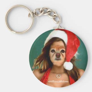 Fox Is Santa's Helper Keychains