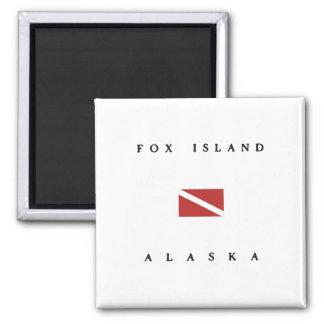 Fox Island Alaska Scuba Dive Flag 2 Inch Square Magnet