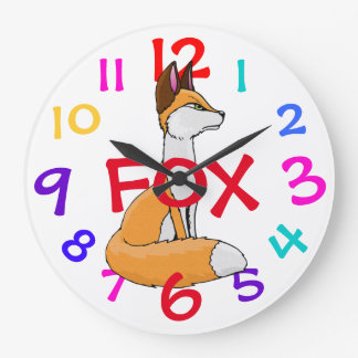 Fox Kids Clock Colorful Numbers Child's Room