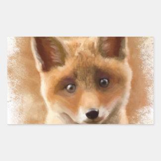 Fox Kit Smiling Rectangular Sticker
