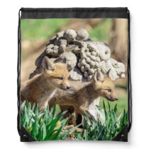 Fox Kits in the Hudson Valley Drawstring Backpack