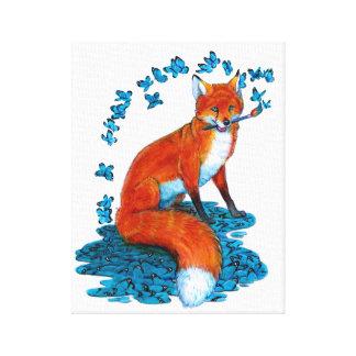 Fox Kitsune Surreal Butterfly Fantasy Dreamscape Canvas Print