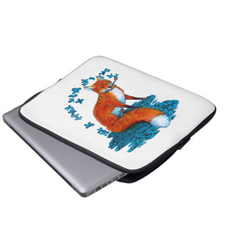 Fox Kitsune Surreal Butterfly Fantasy Dreamscape Laptop Sleeves